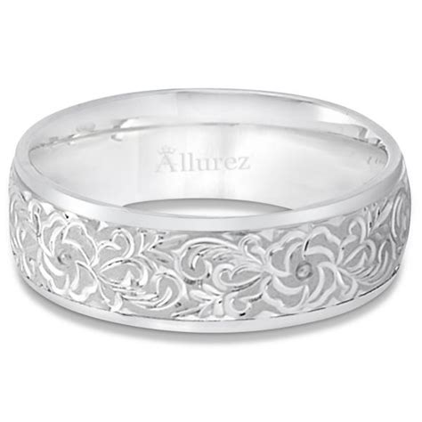 hand engraved flower wedding ring wide band  white gold