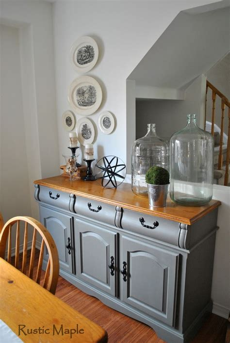 oak buffet makeover painted  country chic paint