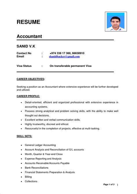 Free Resumes India by Indian Accountant Resume Sle