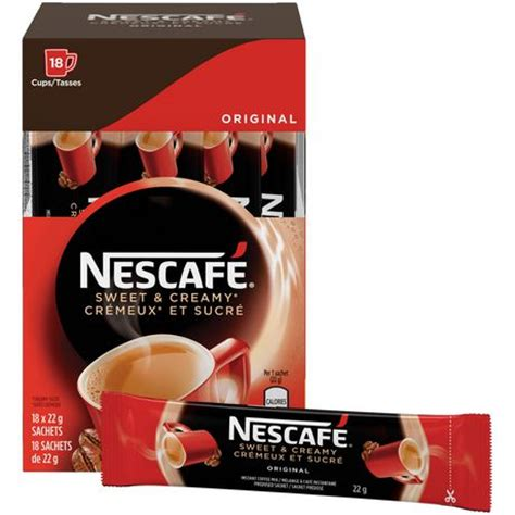 The only exception is the cappuccino decaf variant, which contains approximately 5mg of caffeine per 15g serve. NESCAFÉ Sweet & Creamy Original, Instant Coffee Sachets   Walmart Canada