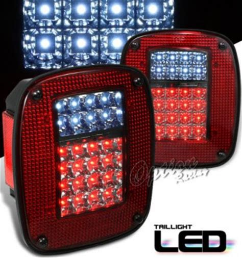 jeep wrangler   red  smoked led tail lights