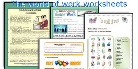 worksheets on the world of work the world of work worksheets