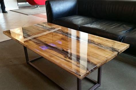 rectangular solid wood coffee table wood  resin