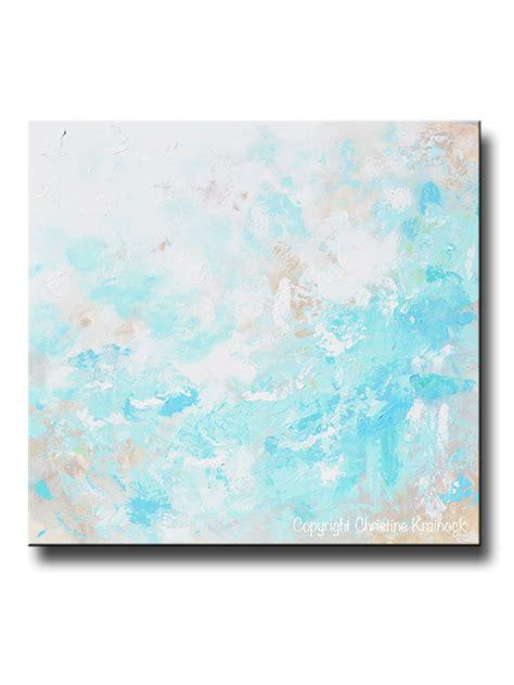 original blue abstract painting modern coastal aqua
