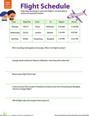 Planes And Trains Practicing Schedules #1  Worksheet Educationcom