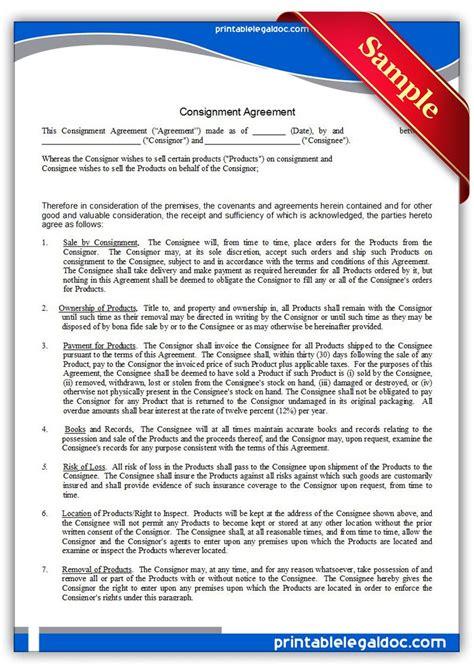 printable consignment agreement sample printable