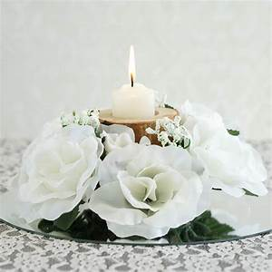 24 pcs silk roses flowers candle rings wedding tabletop With candle rings for weddings