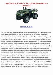 2009 Arctic Cat 366 Atv Service Repair Manual By