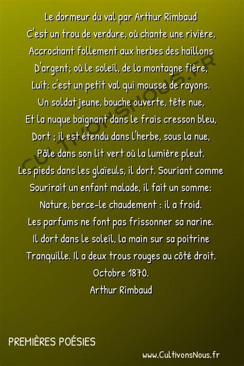 Arthur Rimbaud Le Dormeur Du Val by Le Dormeur Du Val Premi 232 Res Po 233 Sies Cultivons Nous
