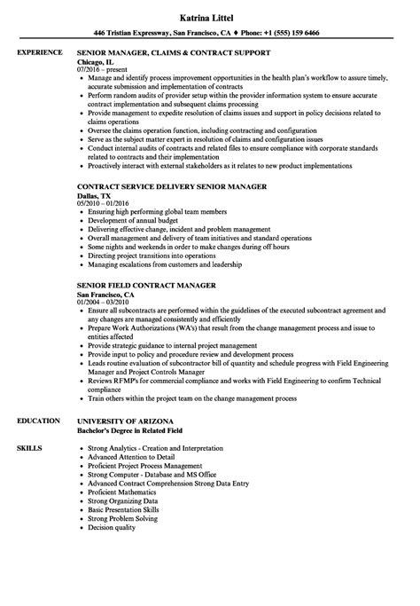 contract manager senior contract manager resume sles