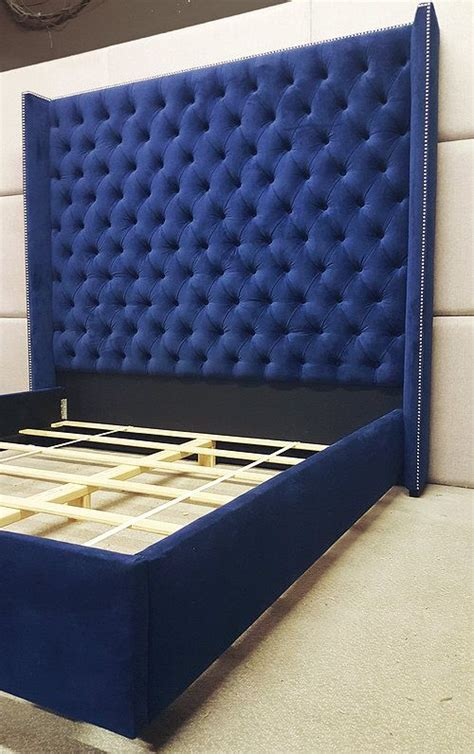 extra tall upholstered bed shocking wingback tufted king