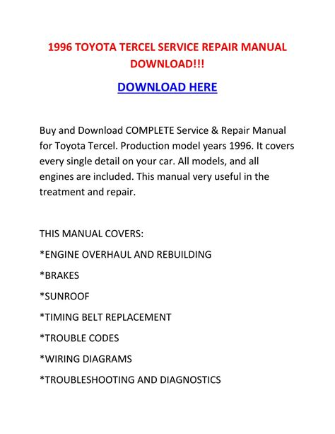 chilton car manuals free download 1996 toyota tercel electronic valve timing 1996 toyota tercel service repair manual download by tylerrk issuu