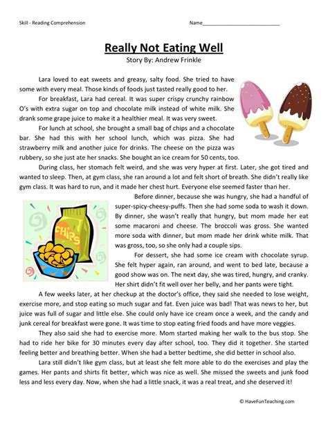 Reading Comprehension Worksheet  Really Not Eating Well