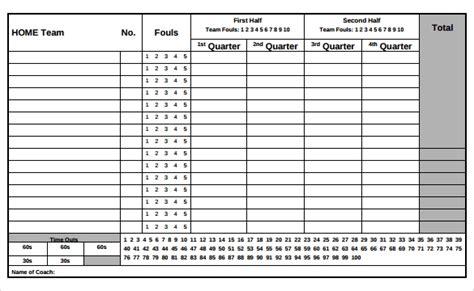 sample basketball score sheet templates  google