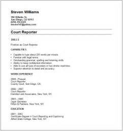 court reporter resume cover letter court reporter resume exle free templates collection