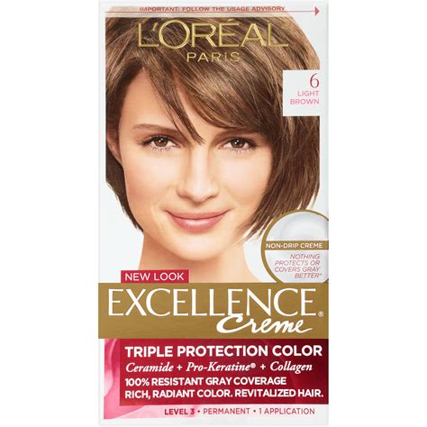 Professional Brown Hair Dye by L Oreal Excellence Creme Light Brown 6 1
