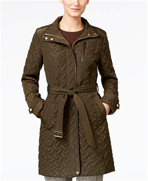 cole haan faux leather trim belted quilted coat coats women macys