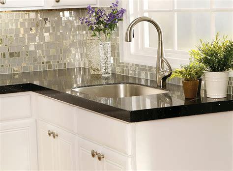 black granite countertops with tile backsplash home