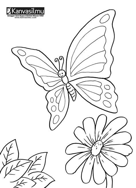 lembar mewarnai bunga kupu