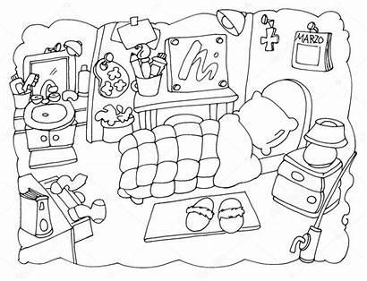 Bedroom Colorear Coloring Dormitorio Dibujos Clipart Artista