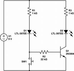switching flip switch with transistor and push button With led switch circuit