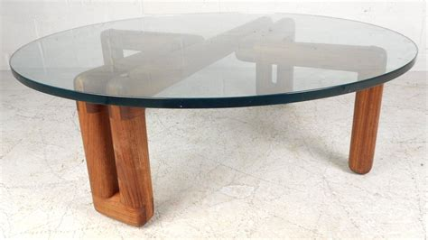 Mid-century Modern Round Glass Coffee Table For Sale At