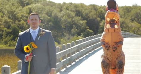 This Bride Wore A T-rex Costume To Pull A Hilarious 'first