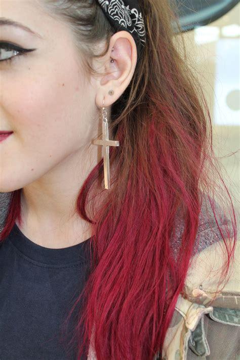 Red Pink Raspberry Dip Dyed Hair On Light Brown Hair
