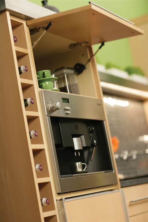 ways  beautifully integrate  coffee  espresso maker  cabinetry  standalone