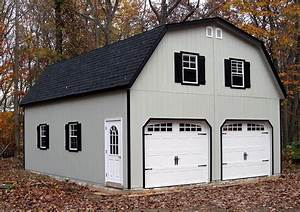 24x30 2 car garage with gambrel barn style roof built With 24x30 garage with loft