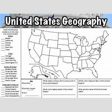 United States Geography Worksheet By Middle School History And Geography
