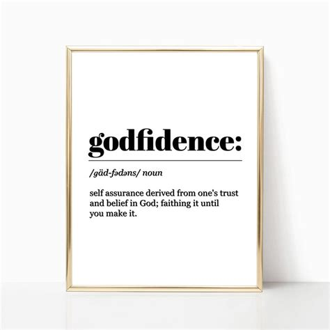 wall art godfidence definition inspirational quote