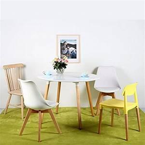 lot de 4 chaises de cuisine en bois eggreetm retro faux With deco cuisine avec chaise pied bois
