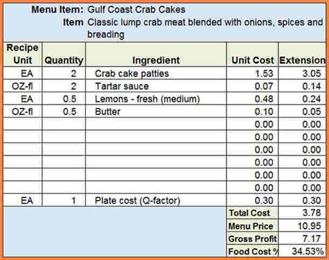 Food Costing Sheet Template by 11 Restaurant Food Cost Spreadsheet Excel Spreadsheets