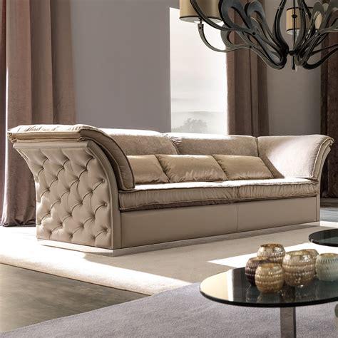 Italian Designer Leather Button Upholstered Sofa