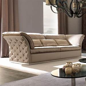 Italian Designer Leather Button Upholstered Sofa ...