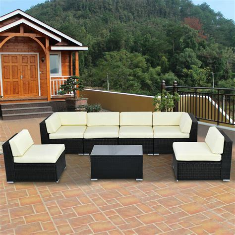 Furniture Outdoor Patio by 7 Pcs Outdoor Patio Sofa Set Sectional Furniture Black Pe
