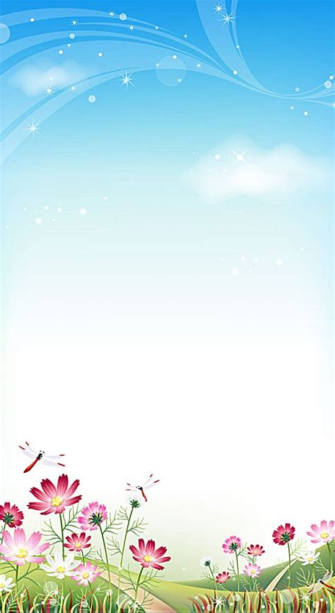 cartoon flowers  blue sky background cartoon flowers