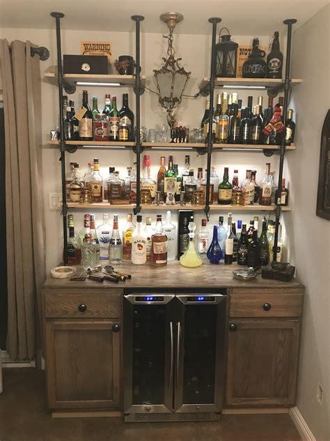 industrial pipe bar  wine fridge  west knobs