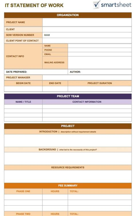 Statement Of Works Template by Free Statement Of Work Templates Smartsheet