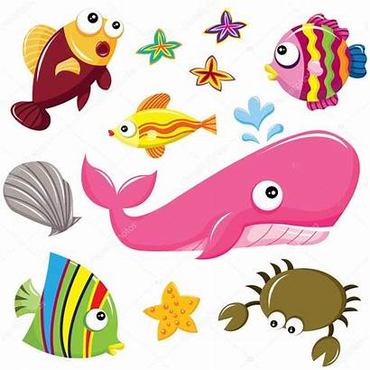 Sea Creatures Clipart Underwater Creature Illustration Vector