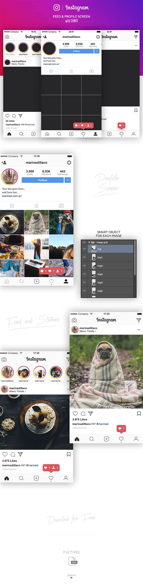 instagram layout free instagram layout ui psd 2017 marinad