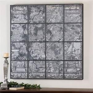 kase industrial loft dark antique mirror parisian map wall art With map wall art