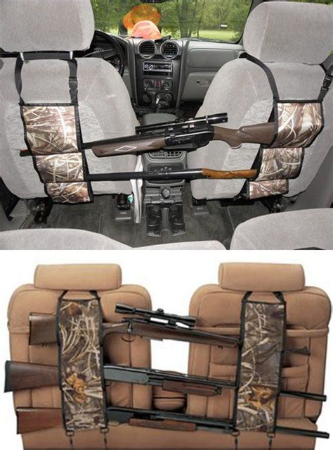 check out this camouflage seat back gun rack it effortlessly hang across the seat back in suv