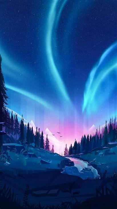 Aurora Sky Iphone Nature Scenery Landscape Anime