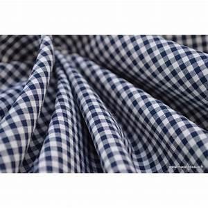 Tissu 100 Coton : tissu vichy en coton petits carreaux bleu marine ~ Teatrodelosmanantiales.com Idées de Décoration