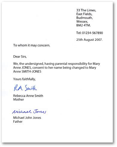 letter of consent exle letters of consent when changing a child s name by 71165