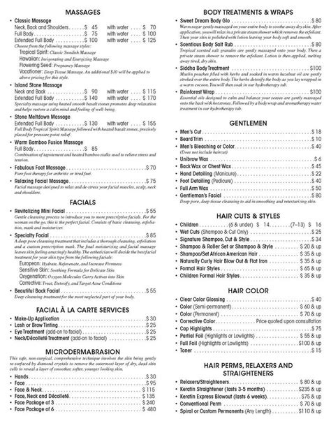 Spa Menu Of Services Template by 11 Best Photos Of Spa Menu Of Services Spa Service Menu