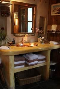 photo salle de bains et rustique deco photo decofr With meuble salle de bain bois rustique