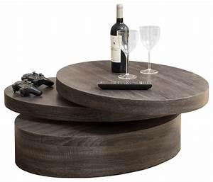 Lenox oval mod rotating wood coffee table contemporary for Rotating wood coffee table